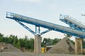 Belt conveyors - Mining in the quarry Royalty Free Stock Photo
