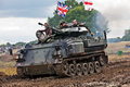 Beltring uk july an ex british army fv tank gives a demonstration to the watching public in the event arena during the war peace Royalty Free Stock Photos