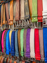 Belts in a market in rome in summer Stock Photo