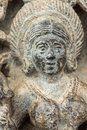 Closeup of Devi Lakshmi face at Chennakeshava Temple in Belur, India Royalty Free Stock Photo