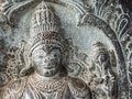 Closeup of Lord Vishnu face at Chennakeshava Temple in Belur, India Royalty Free Stock Photo