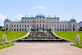 Belvedere palace vienna view of and fountains austria Royalty Free Stock Photo