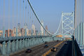 Ben franklin bridge with the philadelphia skyline in the background Royalty Free Stock Image