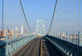 Ben franklin bridge with the philadelphia skyline in the background Stock Photography