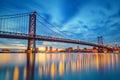 Ben franklin bridge in philadelphia at sunset Stock Images