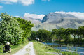 The ben view of nevis highest mountain in uk from caledonian canal Royalty Free Stock Photography