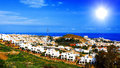 Benalmadena spain white houses on a sea shore Royalty Free Stock Photos