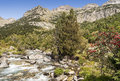 Benasque whitewater river surrounded by mountains situated in the spanish province of huesca it s a sunny day in pyrennes Royalty Free Stock Photography