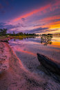 Benbrook lake sunrise vivid multicolored over texas with beautiful predawn reflections on the water Stock Images