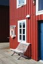 Bench and buoy of Lofoten Royalty Free Stock Photo