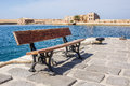 Bench in chania and venetian fortification crete greece Stock Images
