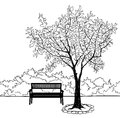 Bench in city park. Doodle landscape illustration Royalty Free Stock Photo