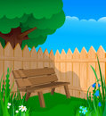 Bench, fence and flowers Royalty Free Stock Images