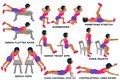 Bench flutter kicks. Surrenders. Hamstring stretch. Bench biceps dips. Chair squats. Bench hops. Cobra abdominal stretch. Royalty Free Stock Photo