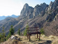 Bench isolated on the top of a mountain Stock Images
