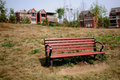 Bench on lawn Royalty Free Stock Photo