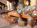 Bench with moroccan souvenirs and cat Royalty Free Stock Photography