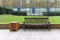 Bench in park empty wooden city Royalty Free Stock Photography