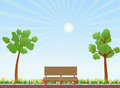 Bench in the park illustration with trees and grass Royalty Free Stock Images