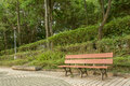 Bench in the park with nobody daytime Royalty Free Stock Image