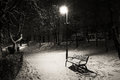 Bench in the park one winter night Royalty Free Stock Image