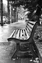 Bench after rain. Royalty Free Stock Photo