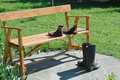 Bench,rubber boots and socks Royalty Free Stock Image