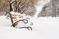 Bench in snow covered winter park on avenue cloudy day Royalty Free Stock Images