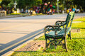 Bench in the summer park at bangkok Royalty Free Stock Image