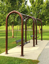 Bench swings at louisville kentucky waterfront swing park Royalty Free Stock Image