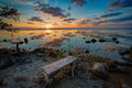 Bench to sit on to enjoy Key Largo sunset Royalty Free Stock Photo
