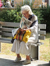 Bench a woman in glasses reading the newspaper on a park voronezh russia june Royalty Free Stock Photos