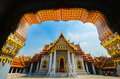 Benchamabophit temple is the in temple landmark of bangkok thailand Stock Photo
