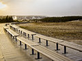 Benches on the boardwalk at Old Faithful Geyser Royalty Free Stock Photo
