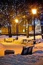 Benches And Lamps At Winter Ni...