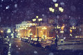 Benches night city lantern moscow Royalty Free Stock Photo