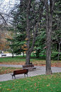 Benches in the park big city with Royalty Free Stock Photos