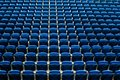 Benches seats in football court stadium ground Royalty Free Stock Photo