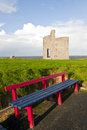 Benches to view Ballybunion beach and castle Royalty Free Stock Photo