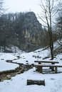Benches into the wild mountains at solomon stones near brasov city Royalty Free Stock Images