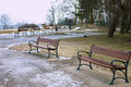 Benches in the winter scenery. Royalty Free Stock Photo