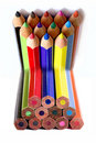 Bended colors of pencils Royalty Free Stock Images