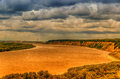 Bending irtysh river railway bridge in the centre of tobolsk rus russia panorama top view hdr dichromatic filter Royalty Free Stock Image