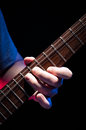 Bending notes on the guitar close up of a man s hand playing Royalty Free Stock Photos
