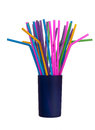 Bendy plastic drinking straws in pot, isolated Stock Images
