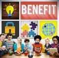 Benefit income profit advantage welfare concept Stock Photos