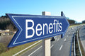 Benefits arrow pointing to highway Royalty Free Stock Images