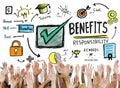 Benefits gain profit earning income hands volunteer concept Stock Photos