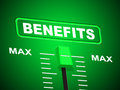 Benefits max indicates upper limit and perk representing top Royalty Free Stock Photography