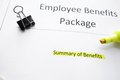Benefits package employee forms and highlighter Stock Photography